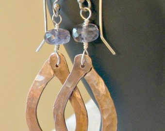 Copper and Iolite Earrings