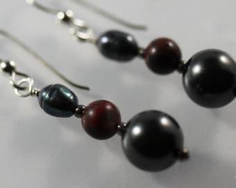 Dark Grey and Rust Earrings