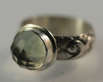 Green Amethyst and Sterling Silver ring