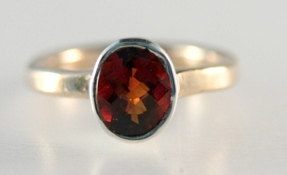 Fair Trade Fire Citrine, Sterling and Gold-filled ring