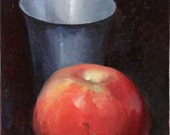 RED APPLE. Oil on canvas. STILL LIFE PAINTING.