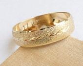 Gold wedding band men women wedding ring with deep sandblast finish and a row of stars wedding ring