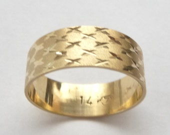 Yellow gold wedding band men ring women 7mm wide with stars unique ring
