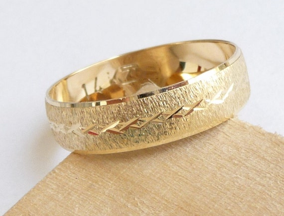 Gold wedding band men women wedding ring with deep sandblast finish and a row of stars wedding ring