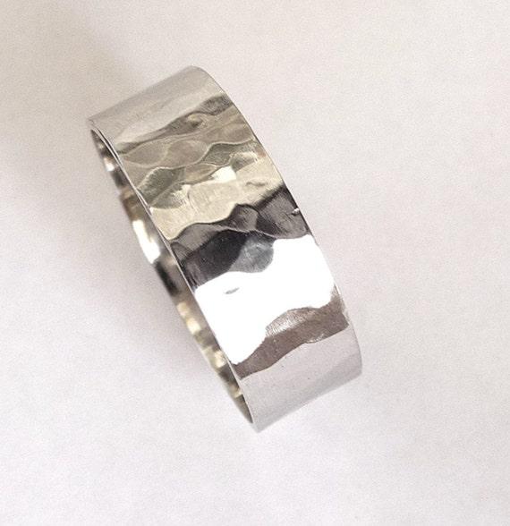 White gold mens wedding band hammered wedding ring shiny  flat  ring women wedding ring