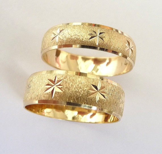 wedding rings set gold men and women wedding bands with stars - Wedding Rings For Men And Women