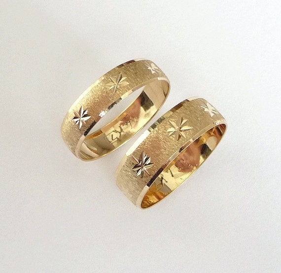 Wedding rings set gold men and women wedding bands by havalazar
