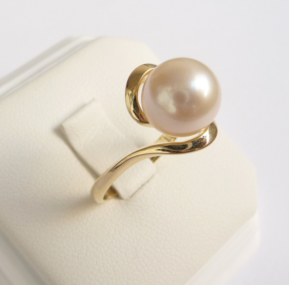 Pearl ring gold ring womens pearl engagement ring for Pearl engagement ring with wedding band
