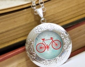 Bicycle Locket Necklace - Silver Locket - Bicycle (blue and turquoise) - Wearable Art with Silver Chain