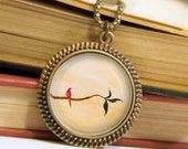 Red Bird on a Branch Necklace - Bronze Pendant - Peaceful Contemplation - Wearable Art Necklace with Bronze Chain