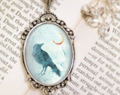 Raven Moon Necklace - Silver Pendant - Call of the Moon - Wearable Art with Silver Chain