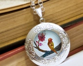 Bird on a Branch Locket - Silver Necklace - Wearable Art with Silver Chain