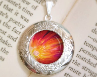 Flower Locket Necklace - Silver Locket - Feverbloom - Wearable Art with Silver Chain
