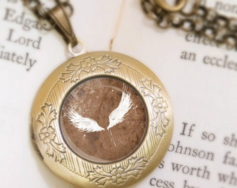 White Wings Locket Necklace - Bronze Locket - Wearable Art with Bronze Chain