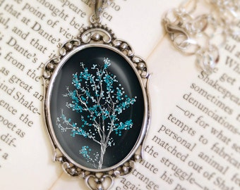 Midnight Tree Blossom Necklace - Silver Pendant - Dancer in the Dark (midnight) - Wearable Art with Silver Chain