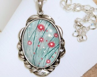 Turquoise and Red Necklace - Silver Pendant - Destiny (red and turquoise) - Wearable Art with Silver Chain