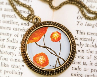 Orange Flower Necklace - Bronze Pendant - One Day I'll Be Like You - Wearable Art Necklace with Bronze Chain