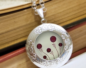 Red Blossoms Locket Necklace - Silver Locket - Wearable Art with Silver Chain