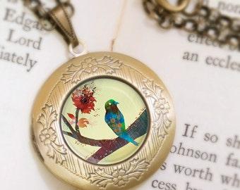Bird on a Branch Locket Necklace - Bronze Locket - Wearable Art with Bronze Chain