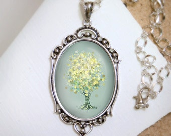 Lemon Bubble Tree Necklace - Silver Pendant - Wearable Art with Silver Chain