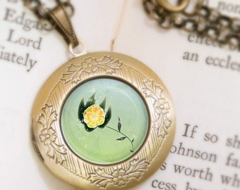 Green Bloom Locket - Bronze Necklace - Bloomsun (yellow and green) - Wearable Art with Bronze Chain
