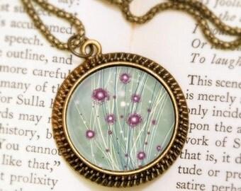 Purple Dandelions Necklace - Bronze Pendant - Destiny (green) Wearable Art Necklace with Bronze Chain