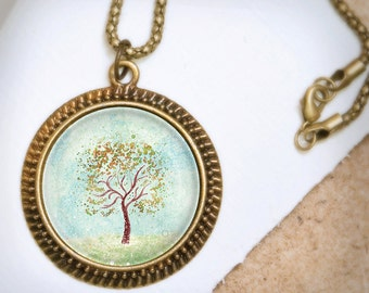 Tree Art Necklace - Bronze Pendant - Everything in It's Own Place - Wearable Art Necklace with Bronze Chain