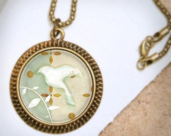 White Bird Necklace - Bronze Pendant - Wearable Art Necklace with Bronze Chain