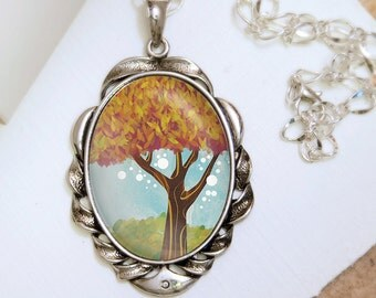 Tree Pendant Necklace- Silver Pendant - Hope for Better - Wearable Art with Silver Chain
