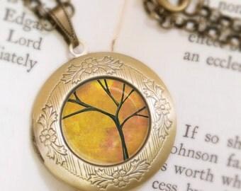 Autumn Tree Locket - Bronze Necklace - Autumn Days - Wearable Art with Bronze Chain