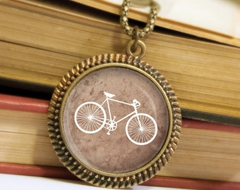 Bicycle Pendant - Brown and White - Bronze Pendant - Wearable Art Necklace with Bronze Chain