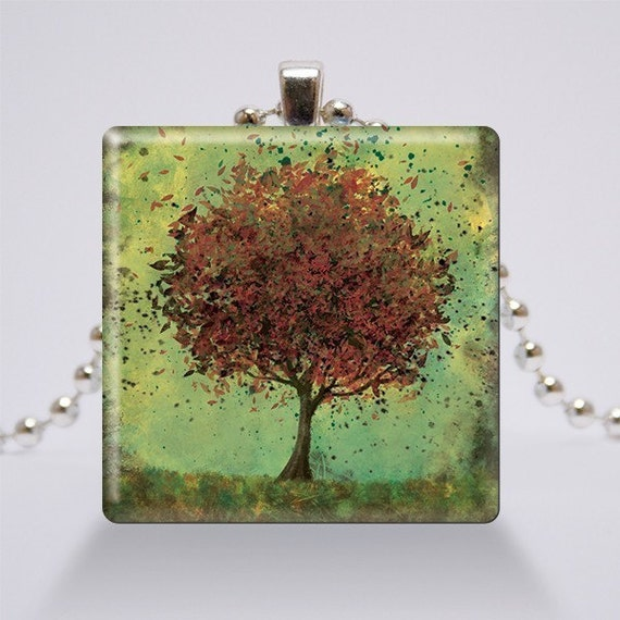 Glass Pendant Necklace - Jewelry - Wearable Art - Tree - Welcome Change (rustic green and burnt orange)