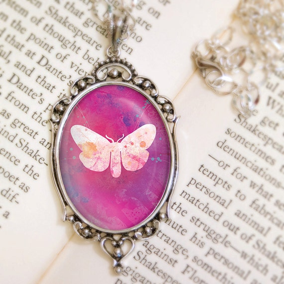 Pink Moth Necklace - Silver Pendant - Giella - Wearable Art with Silver Chain