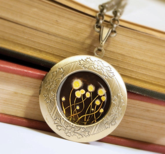 Yellow Flowers Locket - Bronze Necklace - Wearable Art with Bronze Chain