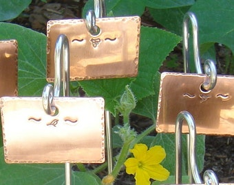 Garden Markers / Plant Stakes - Copper - Birds And Bees  Motif - Set Of Six - Custom Handstamped