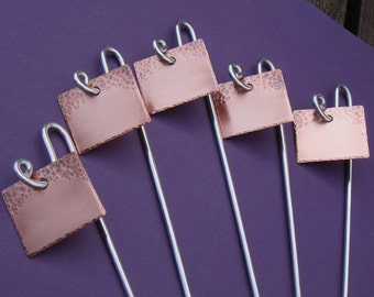 Garden Markers - Copper - Simply Stated - Set Of Five - CUSTOM Handstamped