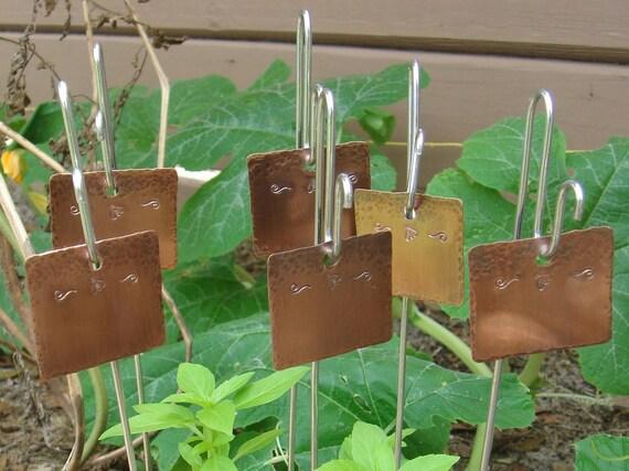 Copper Garden Markers - Bumblebee Motif - Set Of Six - CUSTOM Handstamped
