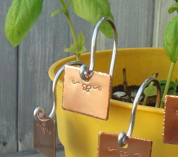 Garden Markers  - Copper - Set Of Five - Butterfly Motif  - Custom Handstamped