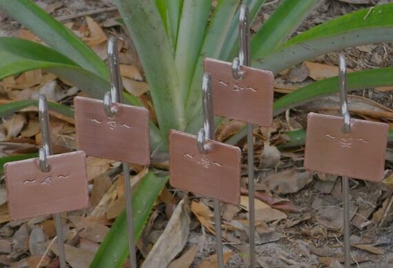 Copper Garden Markers - Set Of Five - Garden Friends Motif - Custom Hand Stamped