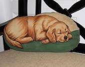 Golden Retriever Puppy Handpainted Soft Sculpture Pillow
