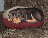 Rottweiler Puppy Handpainted Soft Sculpture Pillow
