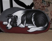 Border Collie Handpainted Soft Sculpture Pillow