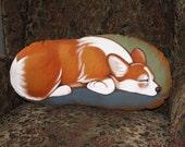 Sleeping Pembroke Corgi Handpainted Soft Sculpture Pillow