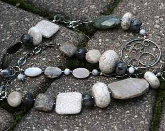 Fossil Coral and Oxidized Sterling Long Necklace