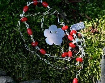 SALE Hand Pierced Sterling Silver Flower Pendant with Wire Wrapped Bamboo Coral