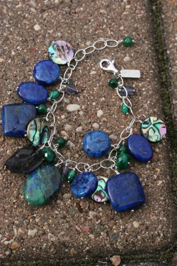 Cha Cha Cluster Bracelet with Lapis, Malachite, Iolite, Aventurine, Puau Shell, Chrysocolla on Sterling, OOAK