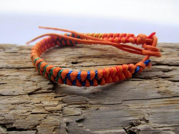 orange Handmade Rainbow Friendship Bracelet