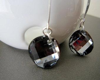 Black Silver Night Swarovski Crystal Sterling Silver Earrings, Minimalist Sterling Silver Dangle Earrings, design by behin