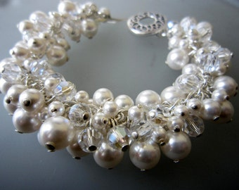 White Swarovski Pearls and Crystals Cluster Sterling Silver Bracelet, designbybehin Signature bracelet, Pearl Bridal Jewelry, White Pearls