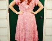 Vintage Sweet Pink Lace Dress w/Matching Belt M